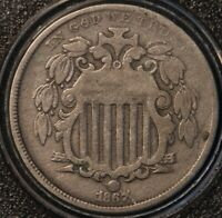 1867 SHIELD NICKEL, NO RAYS, CHOICE FINE/ FINE, SHARP AND CLEAN, TYPE