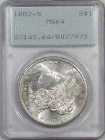 1882-S MORGAN DOLLAR PCGS MINT STATE 64 PREMIUM QUALITY