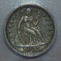 1843 SEATED LIBERTY SILVER DIME  ICG EF45
