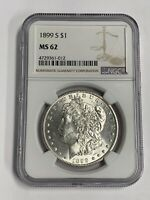1899 S MORGAN SILVER DOLLAR $1 NGC MINT STATE 62 KEY DATEBLAST WHITE SHIPS FREE