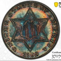 1858 3CS PCGS MINT STATE 66  COLORFUL LOW POP THREE CENT SILVER TRIME