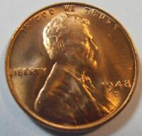 1948 S LINCOLN CENT - BEAUTIFUL BU WHEAT CENT 48ST1