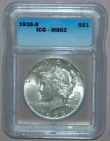 1935 S PEACE SILVER DOLLAR, ICG MINT STATE 62  REALLY  COIN