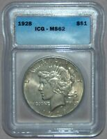 1928 PEACE SILVER DOLLAR, ICG MINT STATE 62  REALLY  COIN