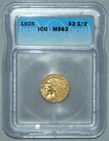 1928 GOLD $2.5 INDIAN HEAD QUARTER EAGLE, ICG MINT STATE 62  BEAUTIFUL COIN