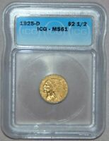 1925 D GOLD $2.5 INDIAN HEAD QUARTER EAGLE, ICG MINT STATE 61  BEAUTIFUL COIN