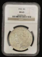 1923 NGC MINT STATE 65 UNCIRCULATED PEACE SILVER DOLLAR, SHIPS FREE