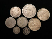 BELGIUM COLLECTION OF 8X SILVER COINS 19TH 20THC