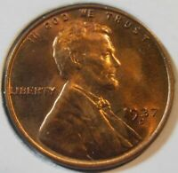 1937 D BU LINCOLN CENT,  HIGH-GRADE MINT-STATE COIN 37DN1
