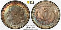 RAINBOW TONED'SUNRISE/SUNSET'1884-O PCGS MINT STATE 63 MORGAN SILVER DOLLAR