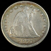 1875 CC US SEATED LIBERTY TWENTY 20 CENTS PIECE SILVER KEY D