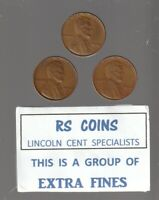 1940  1940D  1940S >   ALL  3  ARE  EXTRA FINES <  LINCOLN CENTS FROM RS COINS