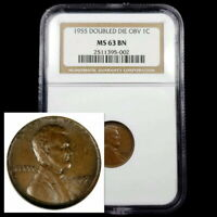 1955 LINCOLN CENT 1C ONE PENNY DOUBLED DIE OBVERSE NGC MS63