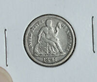 1891 SEATED LIBERTY SILVER DIME COIN LAST YEAR OF TYPE