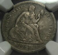 1863-S VF20 NGC SEATED DIME, CIVIL WAR DATE, CERTIFIED, SHIPS FREE