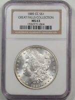 1885-CC MORGAN DOLLAR - GREAT FALLS COLLECTION NGC MINT STATE 63
