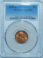 1935 S PCGS MINT STATE 64RD RED LINCOLN WHEAT CENT