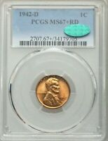 1942-D PCGS MINT STATE 67RD CAC LINCOLN WHEAT CENT