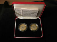 ROYAL MINT UK SILVER PROOF PIEDFORT 2 2 COIN SET 1997 1998