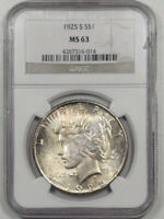 1925-S PEACE DOLLAR NGC MINT STATE 63