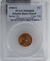 1945-S PCGS MINT STATE 66RD OMAHA BANK HOARD LINCOLN WHEAT CENT