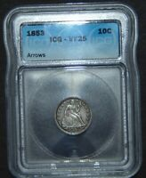 1853 SEATED LIBERTY SILVER DIME  ICG VF25