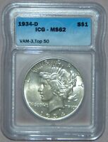 1934 D PEACE SILVER DOLLAR, ICG MINT STATE 62  VAM-3 TOP 50, DOUBLE DIE