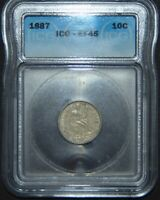1887 SEATED LIBERTY SILVER DIME  ICG EF45