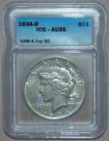 1934 D PEACE SILVER DOLLAR, ICG AU55  VAM-4 TOP 50, DOUBLE DIE OBV, SMALL