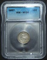 1857 SEATED LIBERTY SILVER DIME  ICG VF20