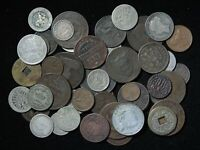 LOT OF 50 1800'S UNSEARCHED OLD WORLD FOREIGN COIN COLLECTIO