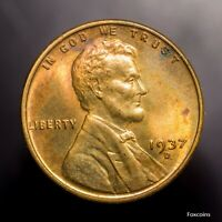 1937-D LINCOLN CENT. RED/BROWN UNC EXAMPLE. ATTRACTIVE COIN