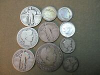 US SILVER COIN LOT BARBER HALF QUARTERS ETC. $2 DOLLARS FACE