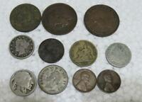 11 PC. COIN MIXED LOT USA FRANCE TUNISIE ETC COINS MONEY V N