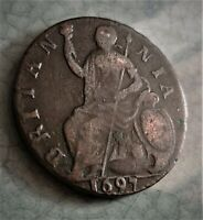 1697 WILLIAM III HALF PENNY  LOVELY  DATE  COIN