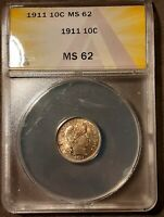 1911 BARBER DIME 10C ANACS MS 62 NICELY TONED