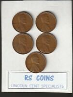 1934D   1936S   1938D   1938S   1939D      ALL  FINE TO VF    LINCOLN  CENTS