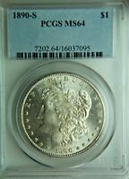 1890-S MORGAN SILVER DOLLAR - PCGS MINT STATE 64 -  COIN