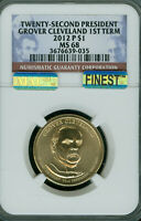 2012-D GROVER CLEVELAND 1ST PRES. DOLLAR NGC MINT STATE 68 PQ MAC FINEST MAC SPOTLESS  .
