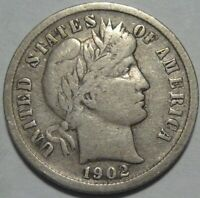 1902-S FINE BARBER DIME, BETTER DATE, SHIPS FREE