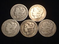 MORGAN SILVER DOLLARS 1879P, 1880-O, 1884P, 1885O, 1890S  LOT OF 5  VG/F/VF L15