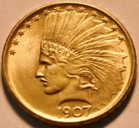 1907 $10 GOLD INDIAN EAGLE HIGH GRADE UNCIRCULATED BETTER TE