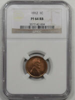 1912 PROOF LINCOLN CENT NGC PF-64 RB PREMIUM QUALITY