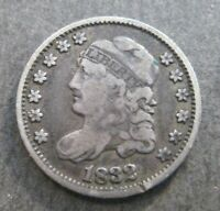1832  CAPPED BUST HALF  DIME -  NO RESERVE SILVER  - P1394