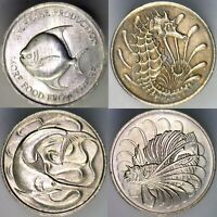 SINGAPORE 4 COIN LOT  UNCIRCULATED  BEAUTIFUL SEALIFE MOTIFS