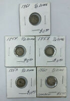 LOT OF 5 SEATED LIBERTY DIMES CIRCULATED 1853 1854 1858 1860