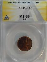 1941 S LINCOLN CENT BU MINT STATE 66 RED/BROWN, BEAUTIFUL MINT-STATE COIN 41S792
