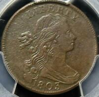 1803 SMALL DATE SMALL FRACTION EXTRA FINE  DETAILS PCGS DRAPED BUST LARGE CENT IDJJ885