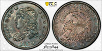 1829 CAPPED BUST HALF DIME PCGS MINT STATE 63 TONED, UNCIRCULATED H10C DUAL TONING