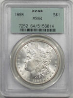 1898 MORGAN DOLLAR PCGS MINT STATE 64 PREMIUM QUALITY OLD GREEN HOLDER